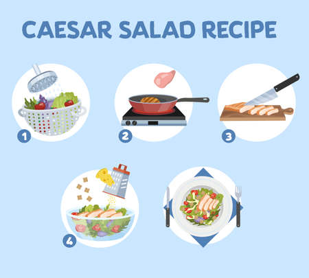 How to cook caesar salad at home. Easy recipe for tasty homemade food. Chicken and lettuce ingredients. Healthy fresh nutrition. Isolated flat vector illustration