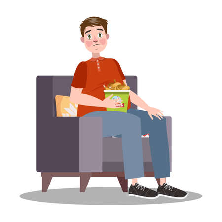 Fat man with bucket full of chicken. Overweight guy is sad. Eating junk food. Bad habit concept. Flat vector illustration