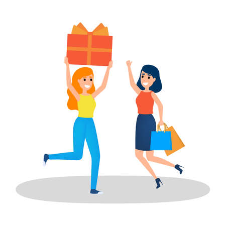 People buy gift on big sale. Happy woman gift box. Satisfied customer. Isolated flat vector illustration