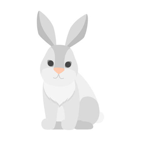 Funny cute rabbit with white fur. Hare drawing. Isolated flat vector illustration