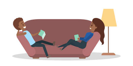 Couple lying on the couch and read book. Family spend time at home. Comfortable living and relaxation. Isolated flat vector illustration