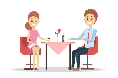 Paar beim romantischen Abendessen im Restaurant. Leute, die ein Date haben, trinken Wein. Valentinstag Feier. Isolierte flache Vektorillustration