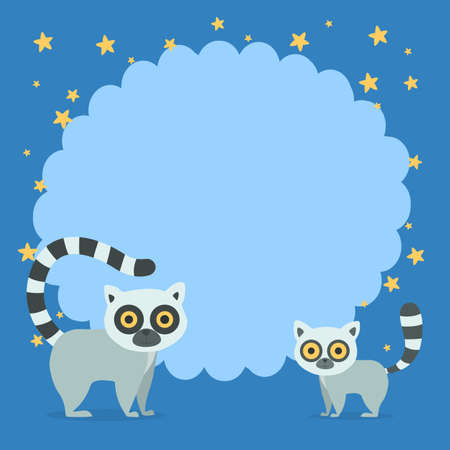 Photo frame with lemur around. Decoration element for design. Shape for family photo in album. Flat vector illustration