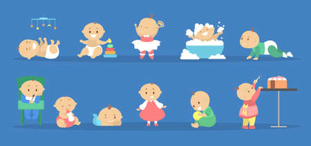 Toddler set. Collection of baby boy and girl doing different activity. Cute kid play with toy, eat sweet cake and having bath. Happy toddler. Flat vector illustration