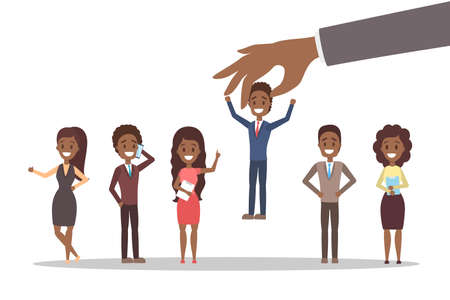 Recruitment concept. Idea of choosing a candidate to hire. Human resources management. Flat vector illustration