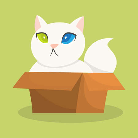 Funny cat sitting in a carton box. Cute kitten with white fur. Adorable pet. Isolated vector illustration in cartoon style