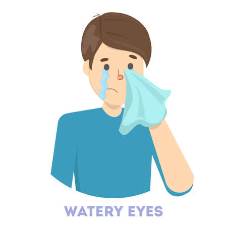 Guy in tears. Symptom of flu or cold. Male character with watery eyes. Sad man. Flat vector illustration Stock Illustratie