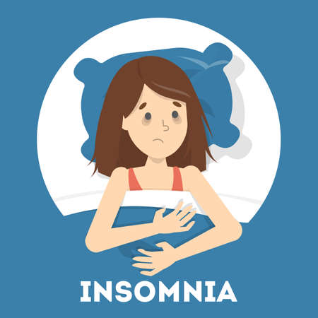 Stressed woman suffering from the insomnia. Girl with no sleep at night. Tired sleepy character. Flat vector illustration Stock Illustratie