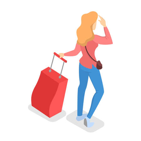 Female character in airport with luggage. Idea of trip and travel. Tourist holding baggage. Isolated vector isometric illustration Vektoros illusztráció
