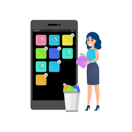 Mobile app development concept. Modern technology and smartphone interface design. Application building and programming. Isolated flat vector illustration