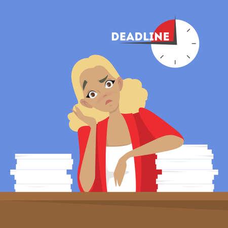 Mujer en el escritorio con pila de documentos. Trabajador cansado en estrés. Idea de fecha límite. Ilustración de vector aislado en estilo de dibujos animados Ilustración de vector