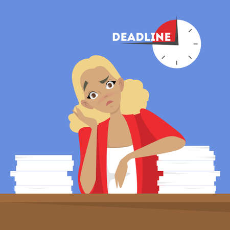 Woman at the desk with pile of document. Tired worker in stress. Idea of deadline. Isolated vector illustration in cartoon style Ilustração