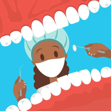 Dentist looking into open mouth of patient. Happy dentist day greeting card. Idea of oral care and teeth treatment. Isolated vector flat illustration