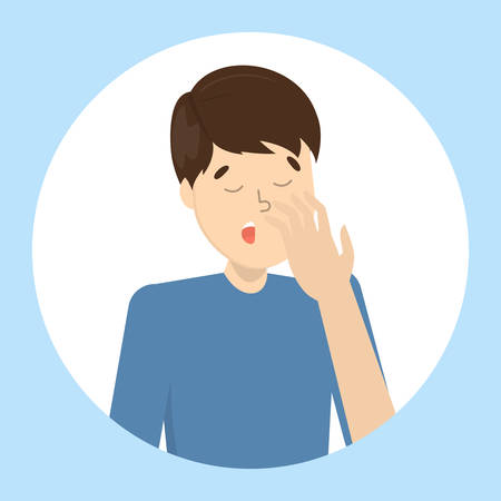 Tired or bored man yawn. Sleepy guy with open mouth. Boy yawning covering mouth with hand. Isolated flat vector illustration
