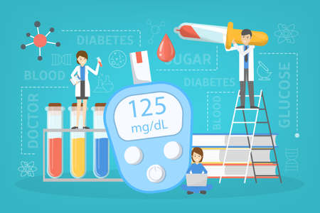Diabetes concept. Measuring sugar in blood with glucometer. World diabetic awareness day. Idea of healthcare and treatment. Isolated flat vector illustration Illustration