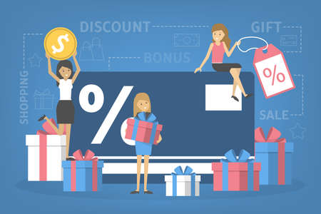 Shopping with discount card concept. Getting cashback and gift bonus while buying goods. Commerce and retail. Isolated flat vector illustration