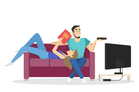 Family couple sitting at home on couch together. Man and woman relax indoors watch TV and read book. Isolated vector illustration in cartoon style