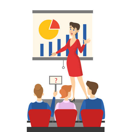 Businesswoman making presentation in front of group of people. Presenting business plan on seminar. Vector illustration in cartoon style