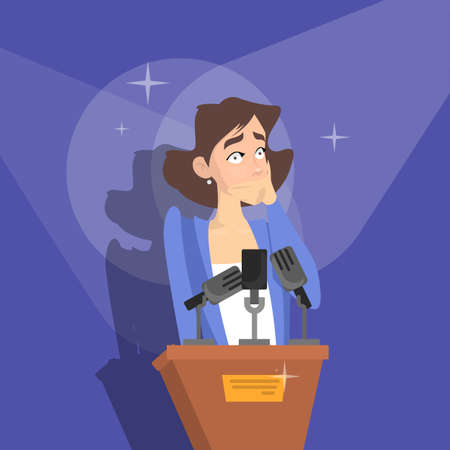 Fear of public speaking or glossphobia. Woman is afraid of giving presentation to the audience. Social anxiety and mental health disorder. Psychology concept. Isolated flat vector illustration Иллюстрация
