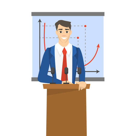 Businessman making presentation in front of group of people. Presenting business plan on seminar. Vector illustration in cartoon style 矢量图像