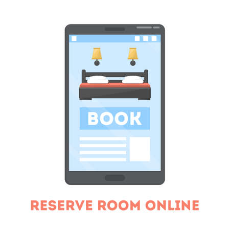 Hotel room reservation online concept. Book apartment for vacation. Bed in hostel. Booking application on screen. Isolated flat vector illustration