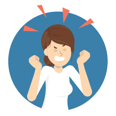 Angry woman. Bad emotion and expression on the face. Furious girl in anger. Crazy character. Flat vector illustration Ilustrace