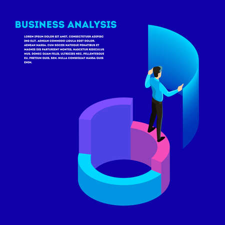 Business concept. Work wih data and financial operations. Audit, brainstorm and strategy. Modern technology. Isolated vector isometric illustration