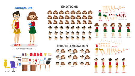 School boy and girl character set for the animation with various views, hairstyle, emotion, pose and gesture. Child and different facial expression. Isolated vector illustration in cartoon style Vektoros illusztráció