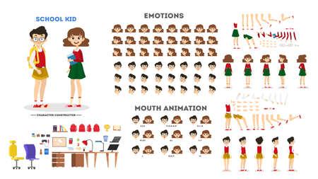 Zeichensatz für Schuljungen und Mädchen für die Animation mit verschiedenen Ansichten, Frisur, Emotion, Pose und Geste. Kind und unterschiedlicher Gesichtsausdruck. Isolierte Vektorillustration im Cartoon-Stil Vektorgrafik
