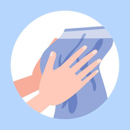 Trocknen Sie die Hände nach dem Waschen mit einem Handtuch Vektorgrafik