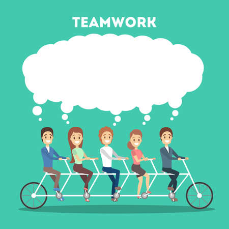 Business team ride on tandem bicycle. Idea of teamwork and cooperation. Group of people on the race and speech bubble above. Vector flat illustration
