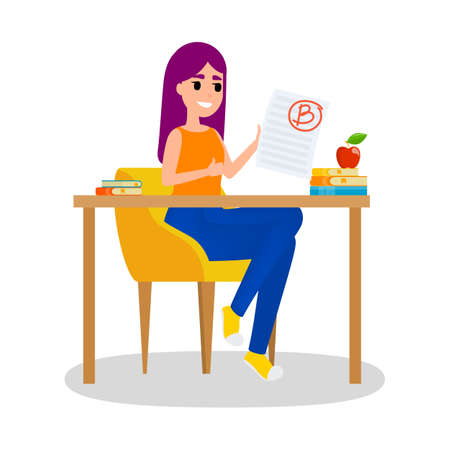 Girl holding paper sheet with grade on it. Girl sitting at the desk with grade B. Idea of education and learning. Cheerful female with good grade. Isolated flat vector illustration