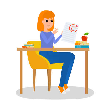 Girl holding paper sheet with grade on it. Girl sitting at the desk with grade C. Idea of education and learning. Sad female with bad grade. Isolated flat vector illustration