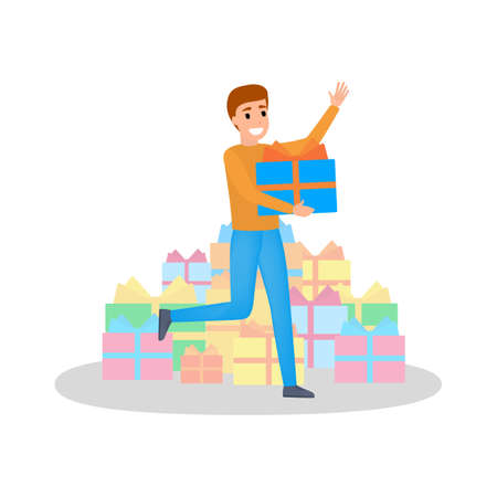 Leute kaufen Geschenk im großen Verkauf. Glücklicher Mann mit Geschenkboxen herum. Person mit Haufen Geschenk. Zufriedener Kunde. Isolierte flache Vektorillustration
