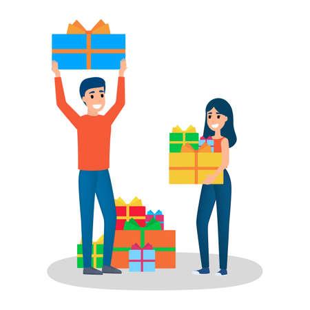 Leute kaufen Geschenk im großen Verkauf. Glückliche Frau mit Geschenkboxen herum. Person mit Haufen Geschenk. Zufriedener Kunde. Isolierte flache Vektorillustration Vektorgrafik