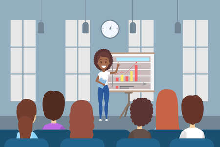 Woman making business presentation in front of group of people. Presenting business plan on seminar. Flat vector illustration