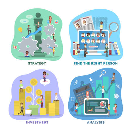 Business concept set. Work in team and making financial operations. Investment, recruitment, analysis and strategy. Vector flat illustration