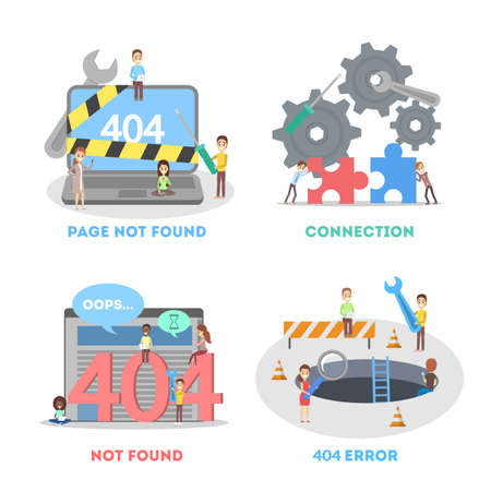 People try to fix broken website banner set. 404 error page not found concept. Flat vector illustration of internet connection problem. Vector illustration in cartoon style