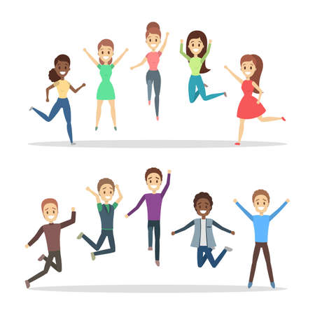 Group of happy people jumping. Celebration and joy. Girls and boys full of energy jump in the air. Flat vector illustration