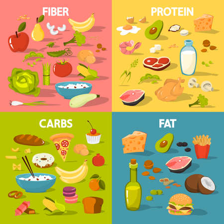 Food groups set. Protein and fiber food, fat and carbs. Nutrition chart. Infographic for people on diet. Isolated vector illustration in cartoon style