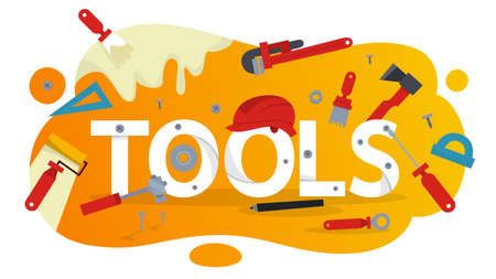 Hand tool concept. Equipment for repair. Wrench and hammer. Handyman tools. Isolated vector illustration