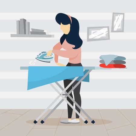 Frau bügelt Kleidung auf Bügelbrett. Idee von Hausarbeit und Wäscherei. Hausarbeit-Konzept. Flache Vektorillustration Vektorgrafik
