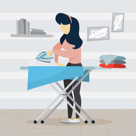 Woman iron clothes on ironing board. Idea of domestic work and laundry. Housework concept. Flat vector illustration Stock Illustratie