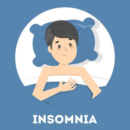 L'homme stressé souffre d'insomnie Vecteurs