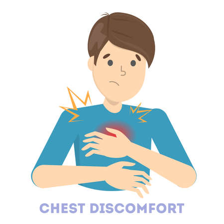 Man feel the chest discomfort. Heart attack