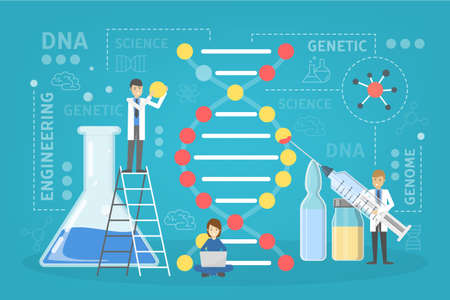 Genetic engineering concept. Biology and chemistry experiment. Invention and innovation in medicine. Futuristic technology and scientist. Vector flat illustration Ilustração Vetorial