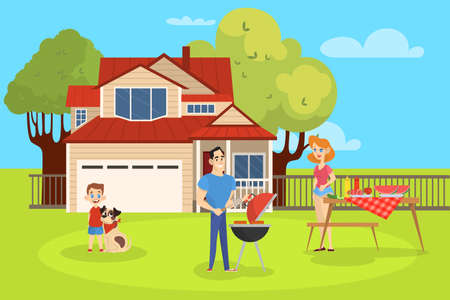 Family on BBQ party on the backyard of the house smiling and eating. Cooking tasty barbeque on grill. Vector illustration in cartoon style Illustration