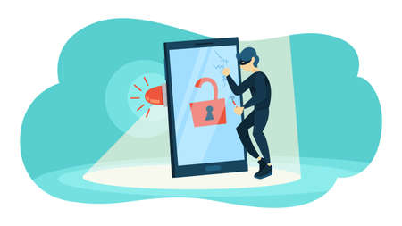 Thief steal personal data with password. Cyber crime