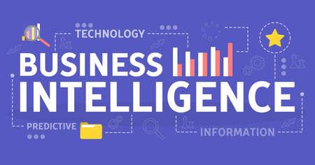 Concept d'intelligence d'affaires. Idée d'analyse de données et de technologie. Science des données. Illustration de plat vecteur isolé Vecteurs