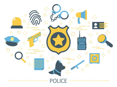 Police concept. Idea of guard job. Law and justice. Professional uniform and golden sign. Authority and safety. Set of colorful icons. Isolated flat vector illustration